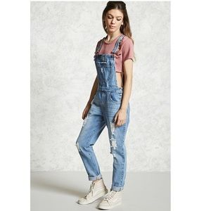 Forever 21 Distressed Denim Overalls Size 25